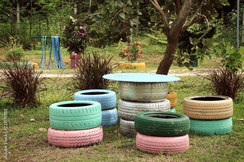 Decorating The Old Tire Chairs Buy This Stock Photo And Explore