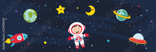 Fotomural Vector Illustration Of Space Background