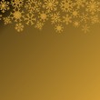 Christmas illustration with snowflakes on gradient background in gold colors. Vector graphic illustration.