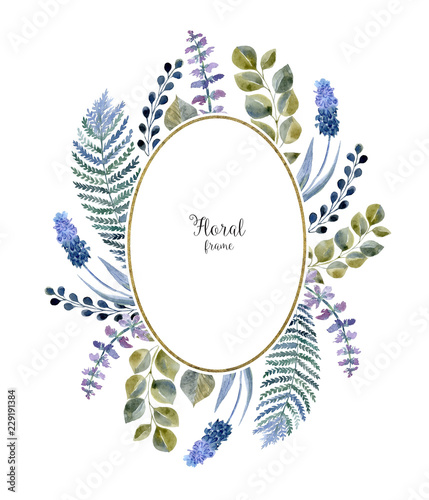 Foto op Canvas Bloemen Watercolor leaf frame on white background. Hand drawn floral decoration for wedding card cover.