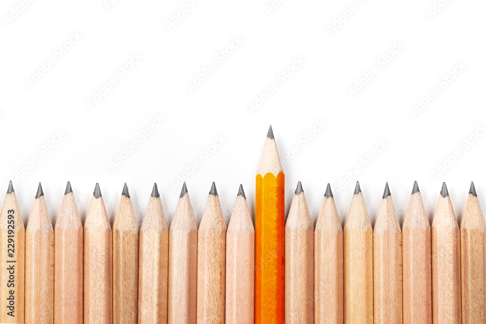 Fototapety, obrazy: Orange pencil standing out from crowd of black pencils on white background.