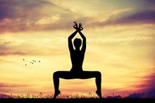Illustration Of Yoga Pose At Sunset