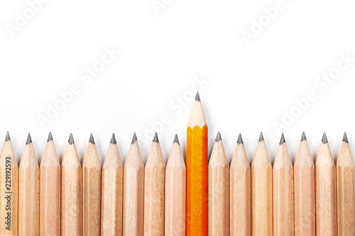 Orange pencil standing out from crowd of black pencils on white background Wallpaper Mural