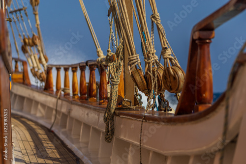 Old ship tackles. Old sailing ship vessel.