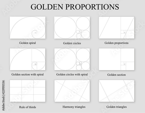 Golden proportions set . Golden section ration Canvas Print