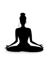 Silhouette Of Ayoung Beautiful Woman Practicing Yoga In Lotus Pose, Vertical Vector Illustration