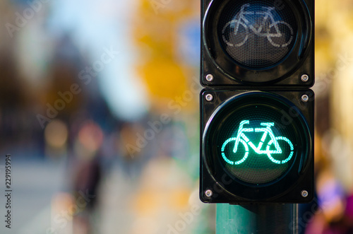 Sustainable transport. Bicycle traffic signal, green light, road bike, free bike zone or area, bike sharing