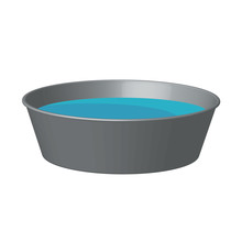 Aluminum Basin With Water. Vector 3D.