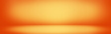 Yellow And Orange Gradient Wall Banner, Blank Studio Room Background For Present Product