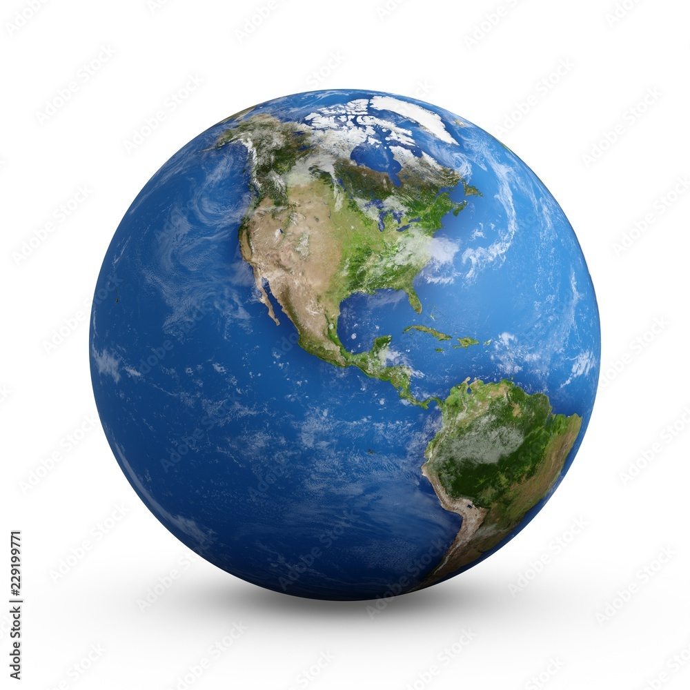 Fototapety, obrazy: 3D Rendering Planet Earth isolated on white