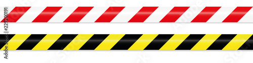 warning tape red white and yellow black Fotobehang