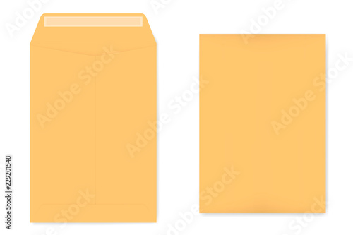 Photo  A4 kraft catalog envelope with self adhesive seal, vector template