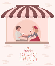 Love Story In Paris With A Lover Couple. Romantic Poster, Love You Card Or Wedding Invitation. Editable Vector Illustration