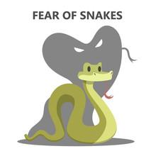Irrational Fear Of Snake. Danger From Animal