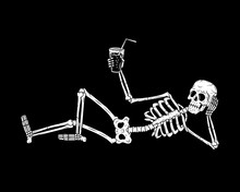 RESTING SKELETON WITH COCKTAIL...
