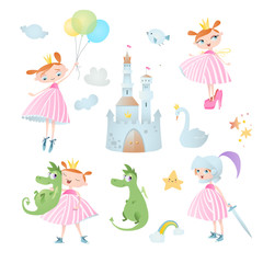 Princess's adventure. Set of vector elements, which contains: dragon, castle,...