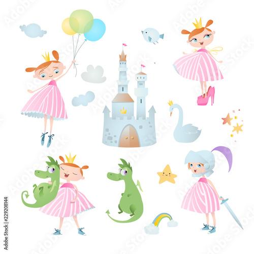 Przygoda księżniczki. Zestaw elementów wektorowych, który zawiera: smoka, zamek, tęczę i gwiazdy.