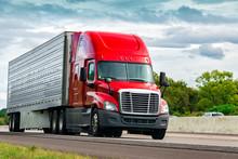 Red Truck On Interstate Highway