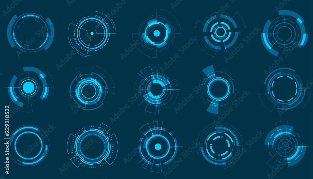 Fototapety, obrazy: Vector icon set technology circle design.