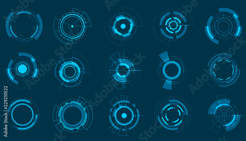 Vector icon set technology circle design. Wallpaper Mural