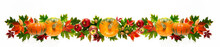 Round Pumpkin, Apples And Walnuts With Autumn Leaves Isolated On White Background. Top View. Flat Lay.Long Banner