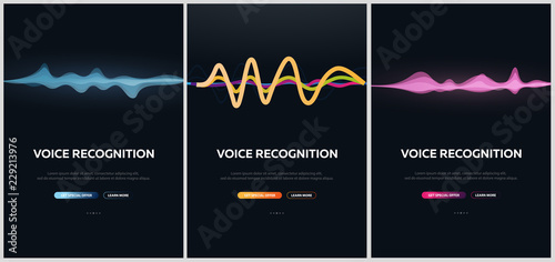 Photo  Set of Voice Recognition System and Personal assistant banners
