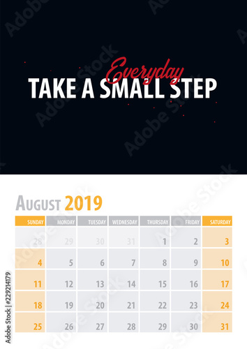 August  Calendar Planner 2019 with motivational quote on