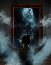 Mirror. Terrible Ghost On Dark...