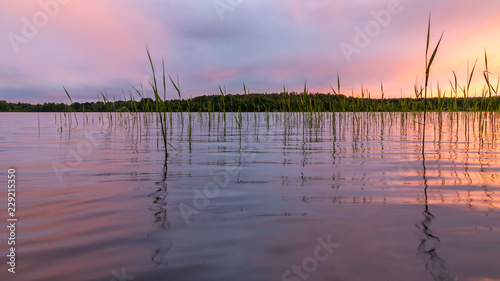 Poster Lichtroze Reflected in the smooth water of the lake clouds at sunset. Colorful landscape, background blur