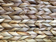 Braided Basket Weave Closeup With Textured Pattern Of Woven Dried Plant Leaves