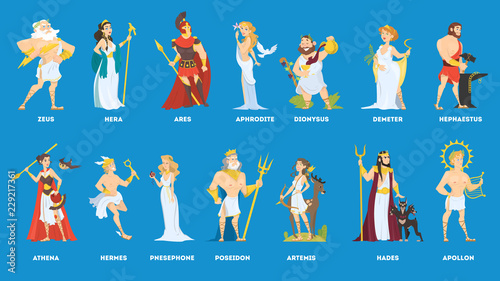 Photo  Set of Olympian greek gods and goddess.