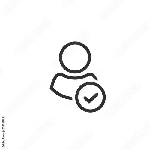 Fotografía  Profile with checkmark icon vector, line outline art user account accepted symbo