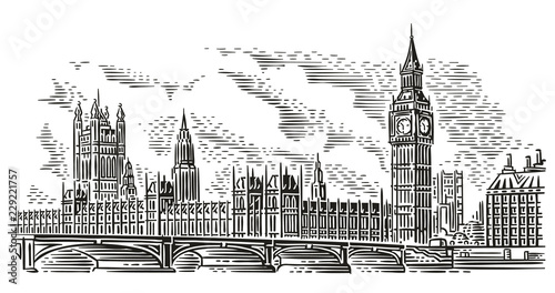 Fotografía  London Cityscape Vector Illustration, engraving style