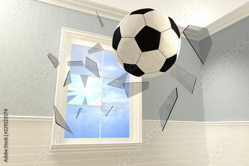 Photo  3D rendering of a soccer ball coming into a room breaking a window