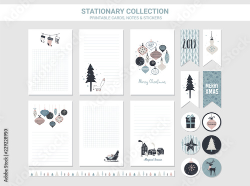 picture regarding Printable Christmas Stationary called Hipster Fresh 12 months and Merry Xmas stationary fixed. Vector