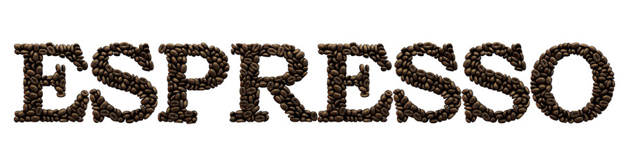 NaklejkaEspresso word made from coffee bean font. 3D Rendering