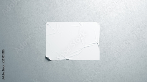 Canvastavla Blank white wheatpaste adhesive horizontal poster mockup on textured wall, 3d rendering