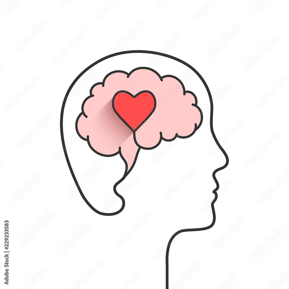 Fototapeta Human head and brain silhouette with heart shape as love, mental health or emotional intelligence concept