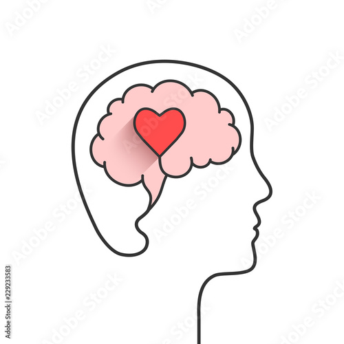 Fototapeta Human head and brain silhouette with heart shape as love, mental health or emoti