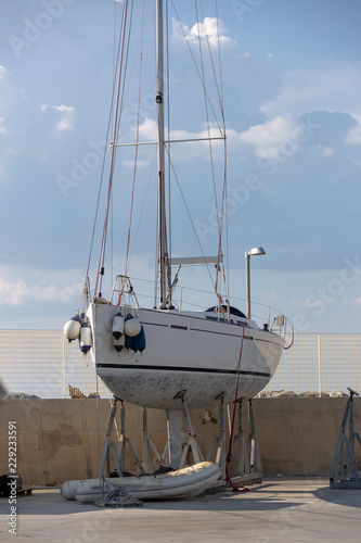 Modern, elegant and luxury sail boat; lifestyle and travel concepts Canvas Print