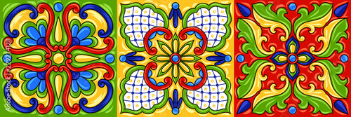 Canvas Print Mexican talavera ceramic tile pattern.