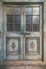 Ancient Weathered Double Entrance Door