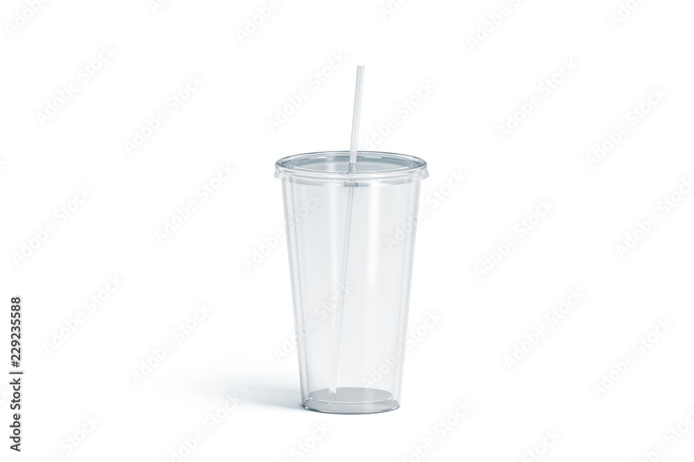 Fototapeta Blank white transparent acrylic tumbler with straw mockup, isolated, 3d rendering. Empty cup with tube mock up. Clear take away container for drink. Plastic traveler mug for beverage template.