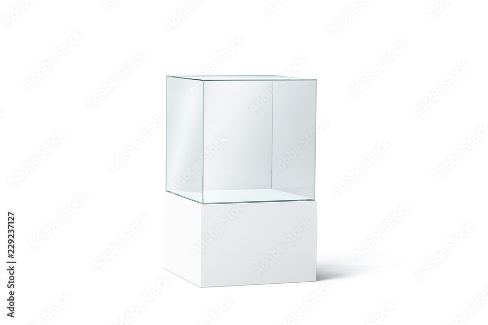 Fototapeta Blank white glass box podium mockup, isolated, 3d rendering. Empty transparent showcase mock up, side view. Clear exhibition cube for museum or store. Cube acrylic template. Display cabinet for expo.