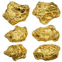 Gold Nugget Isolated On White ...
