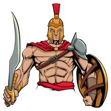 Illustration Of Spartan Warrio...