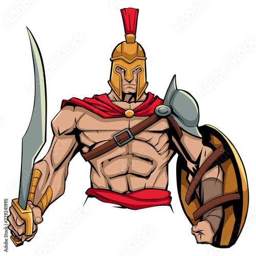 Illustration of Spartan warrior holding sword and shield, ready for battle Fototapete