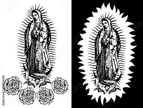 Fotografia  Virgin of Guadalupe, Mexican Virgen de Guadalupe black and white vector illustra