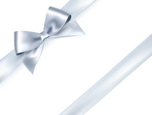 Shiny Satin Ribbon On White Background. Vector Silver Bow