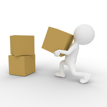 3D Man Lifting And Moving Boxes